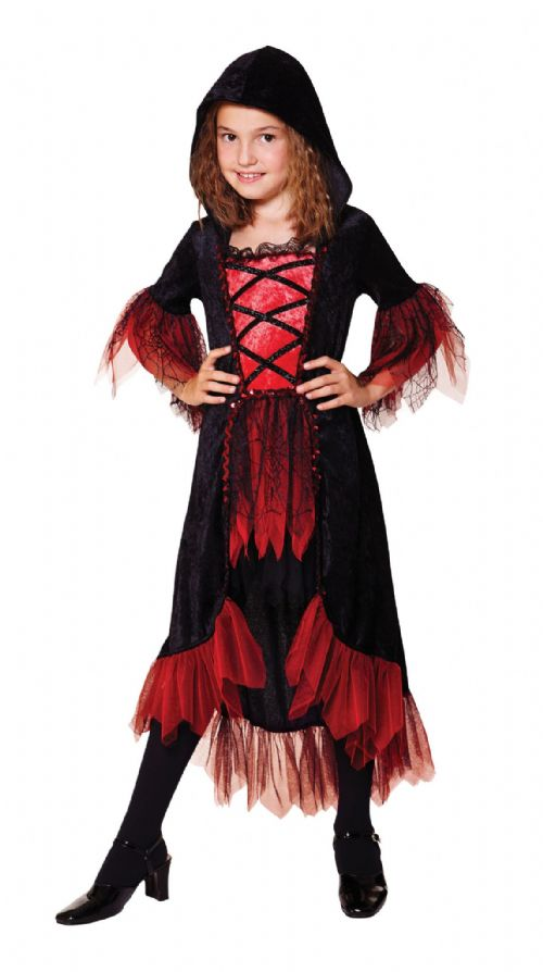 Childs Vampire Girl Costume Dracula Vamp Halloween Fancy Dress Outfit